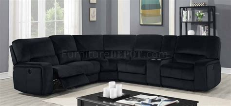 power motion sectional sofa black velvet fabric  global