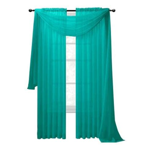 Turquoise Sheer Curtains Window Elements Sheer Voile Turquoise Curtain Scarf 56 In W X 216 In L Ymc003066