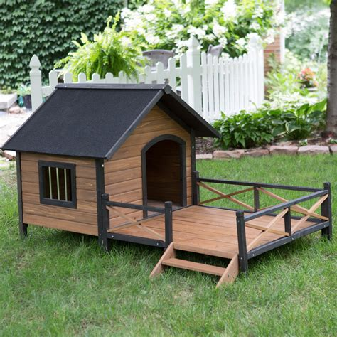 Boomer George Lodge Dog House With Porch Large Dog Houses At Hayneedle