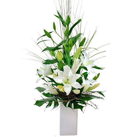 Modern Flower Arrangements In Vase by Modern Flower Arrangement In High Vase With Tropical Leaves 205 H 250 Si Bl 243 Ma Flower