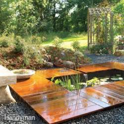 Building A Small Backyard Pond How To Build A Garden Pond And Deck The Family Handyman