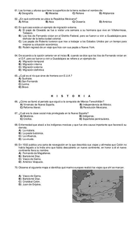 preguntas de historia para quinto de secundaria examen diagnostico quinto grado