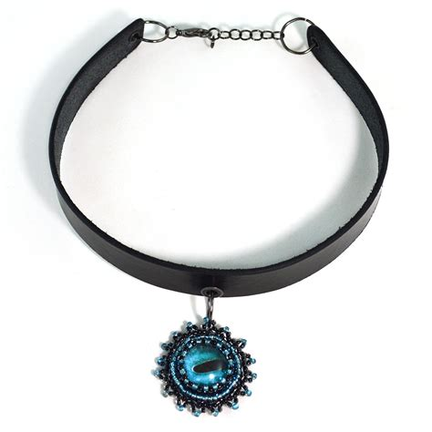 Blue Choker choker necklace black and green twisted pixies