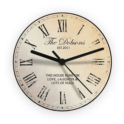 personalised message wall clock by lucky roo