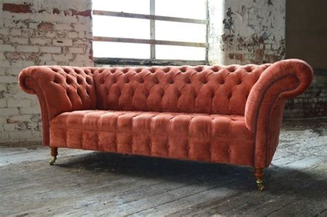 orange couch for sale burnt orange velvet 3 seater chesterfield sofa couch for