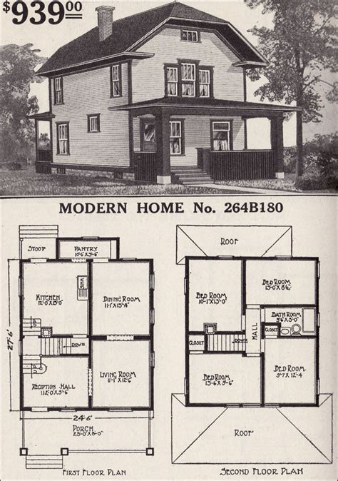 modern home 264b110 farmhouse style 1916 sears house plans front clipped gable two story bungaloid style 1916