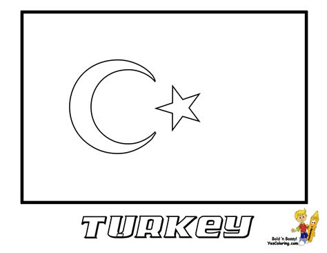 free coloring pages of flag of turkey