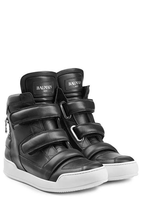 balmain mens sneakers balmain leather high top sneakers black in black for