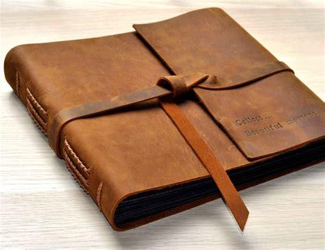 Handmade Leather Photo Album - photo albumrustic leather photo album scrapbook style pages