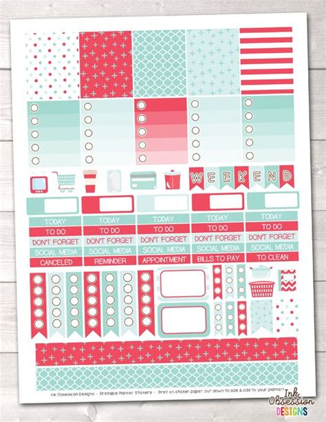 printable planner stickers pdf red and aqua printable planner stickers pdf instant