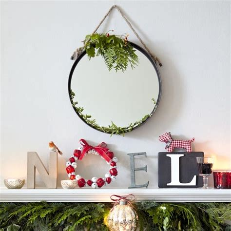 festive mantelpiece with noel letter art traditional