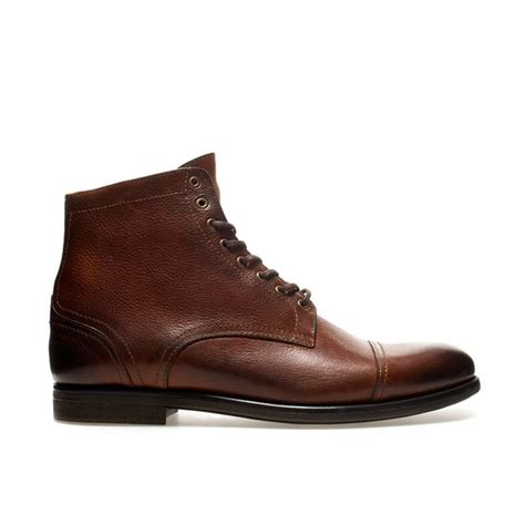 zara boots mens zara laceup boots in brown for leather lyst