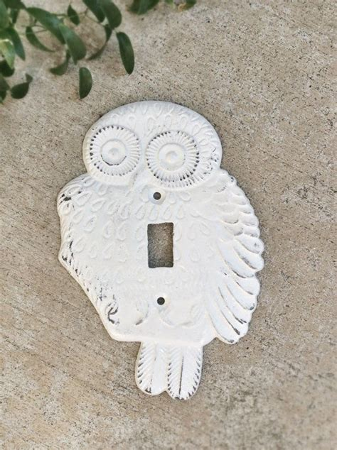 shabby chic switch plate single light switch plate owl decor shabby chic white