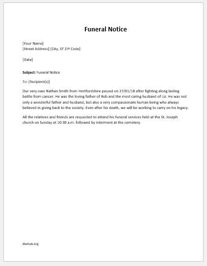 funeral notice template letter of refund for faulty goods for ms word document hub