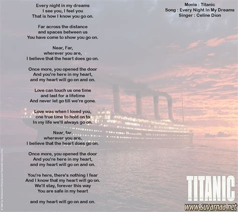 film titanic song lyrics titanic song every night in my dreams tapanguchi remix mini