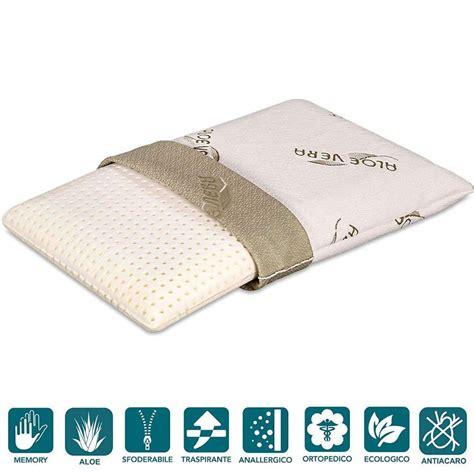 cuscini per cervicali cuscini memory foam bassi 9 cm con fodera aloe vera