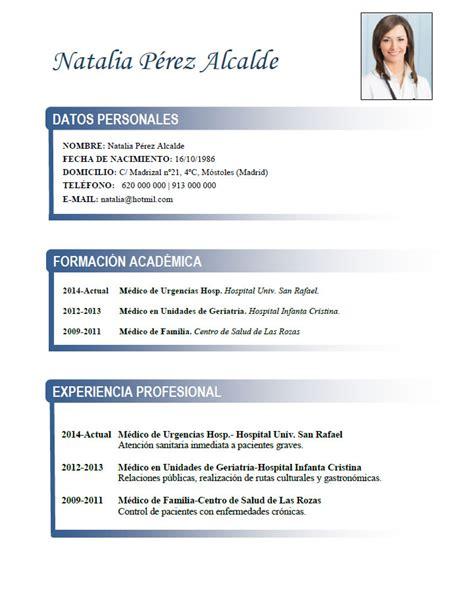 Plantilla De Curriculum Vitae Clasico curriculum de m 233 dicos enfermeras plantillas de cv