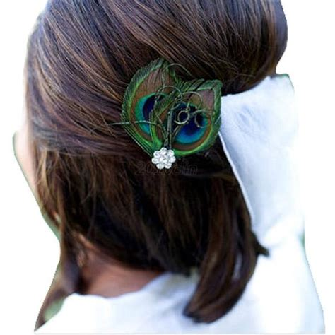Wedding Hair Accessories Uk Ebay by Peacock Feather Rhinestone Hair Pin Clip