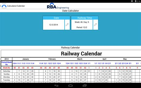 Calendar Calculator Add Weeks Railway Calendar Android Apps On Play