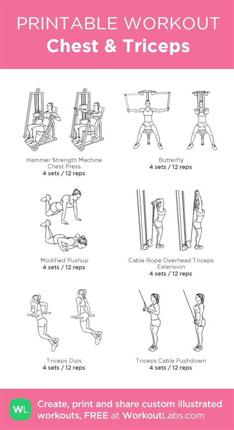 chest triceps my custom printable workout by