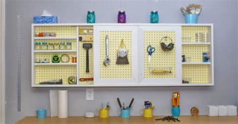 Garage Cabinets With Pegboard Diy Pegboard Cabinet With Sliding Doors For The Garage