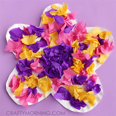 Tissue Paper Flower Crafts - paper plate flower craft using tissue paper flower