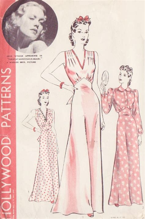 vintage nightwear pattern 1940 pin up style nightgown lingerie pattern hollywood