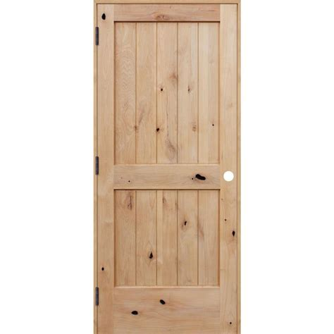 home depot wood doors interior pacific entries 30 in x 80 in rustic unfinished 2 panel v groove solid knotty alder wood