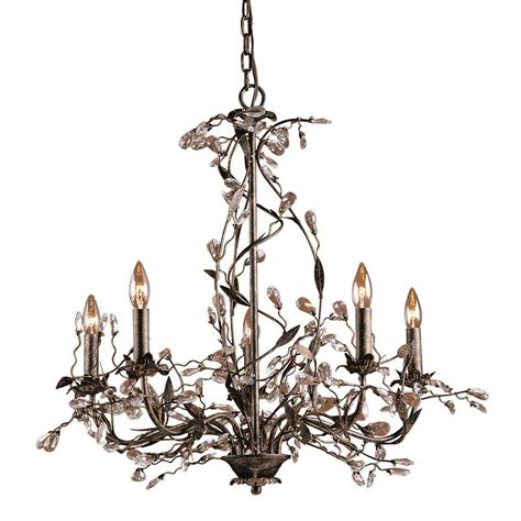 Ceiling Mounted Chandelier Titan Lighting Circeo 5 Light Rust Ceiling Mount Chandelier Tn 5882 The Home Depot