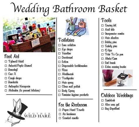bathroom wedding basket list ladies room wedding basket mother of the bride