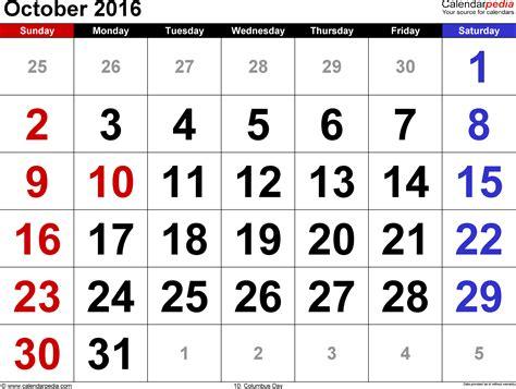 Calendar October 2016 October 2016 Calendars For Word Excel Pdf