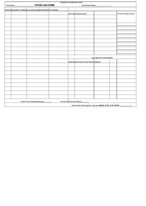 tutor log form printable