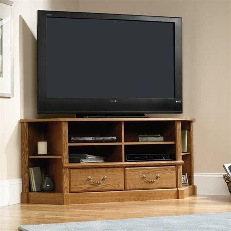 sauder corner tv cabinet orchard large corner tv stand in carolina oak finish