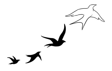 birds flying away silhouette tattoo