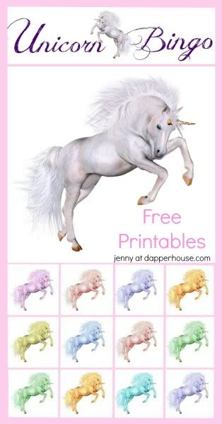 printable unicorn bingo free printable unicorn party game bingo