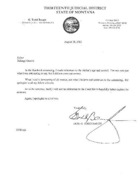 Apology Letter To Judge Pdf Letter Of Apology From Judge G Todd Baugh