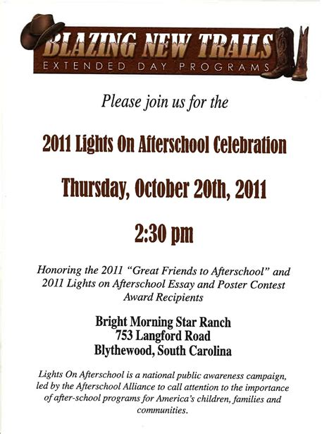 Invitation Letter School Event lights on afterschool 2016