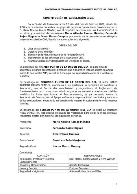 modelo de contrato de una sociedad civil crear empresas acta constitutiva asociacion las lomas