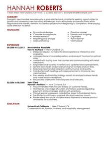 Merchandising Associate Sle Resume by Simple Merchandise Associate Resume Exle Livecareer
