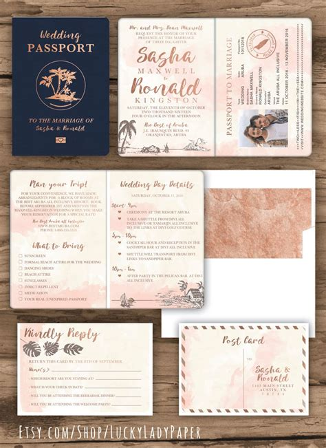 what to include in destination wedding invitations gold watercolor destination wedding passport