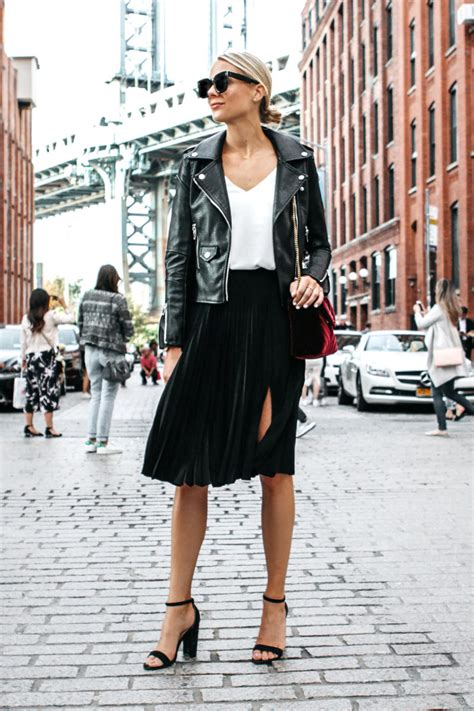 an edgy way to wear a pleated skirt fashion jackson