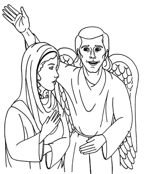 coloring page of angel and joseph how to draw an angel appears to mary coloring pages bulk