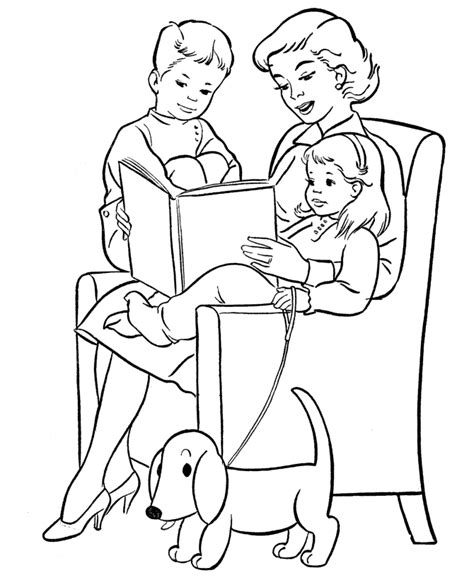 coloring pages child reading bible familia para colorear
