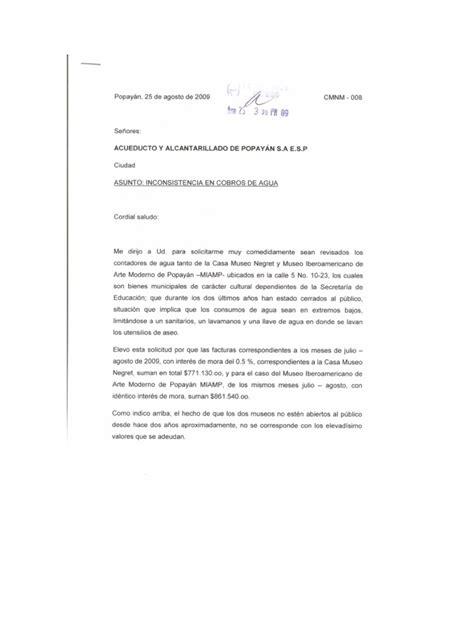 carta acueducto popay 225 n solicitud revisi 243 n cobros servicio de agua