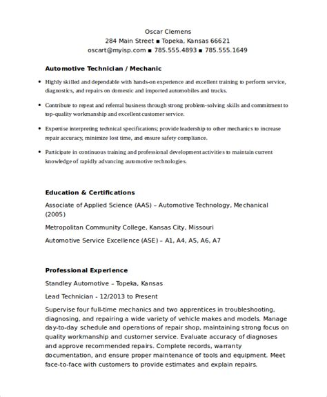 Mechanic Resume by Pin Automotive Technician Resume Exle 187 On