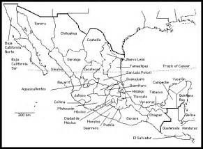 united states and mexico outline map mexico state names