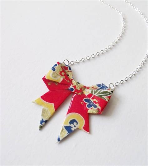 Origami Jewellery Uk - primary washi paper origami bow necklace by matin lapin