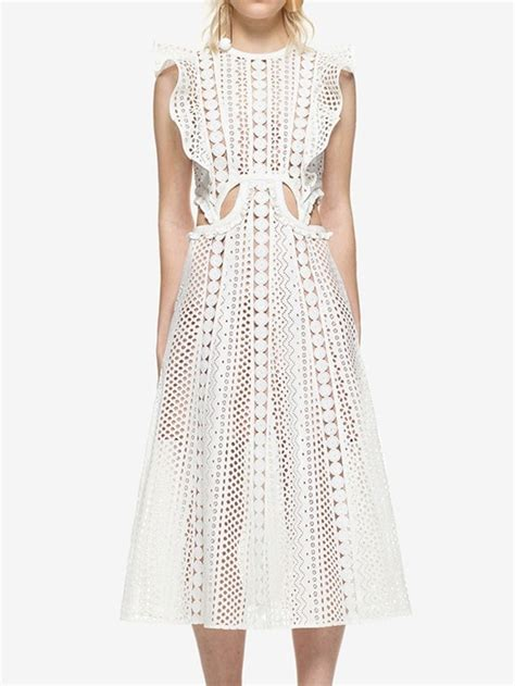 St Channel Lace Cc white ruffle sleeve cut out lace midi dress style lace midi dress ruffle