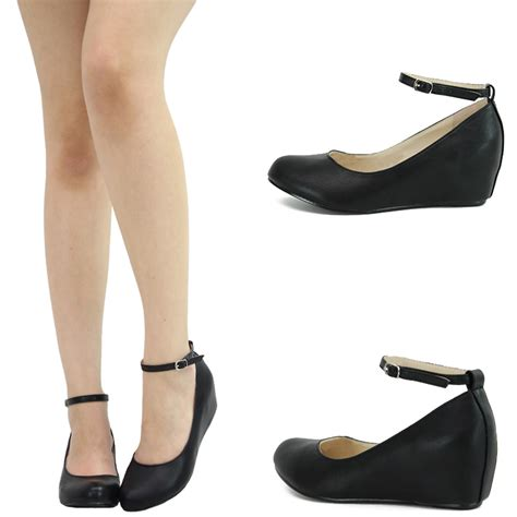 wedges flat shoes black toe ankle low med wedge