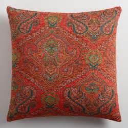 orange jacquard throw pillow world market